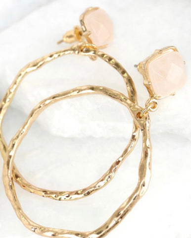 Rose quartz stud with gold hoop