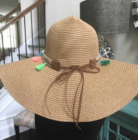Straw tassel beach hat