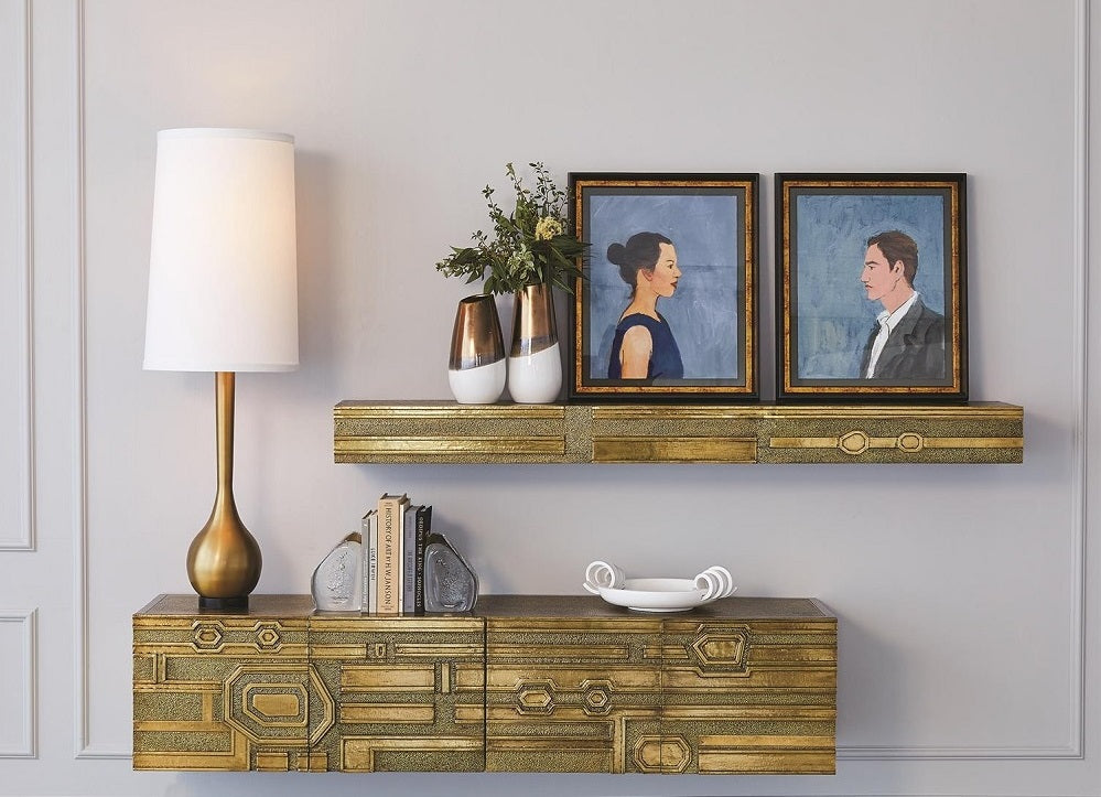 Global Views Abstract Block Floating Shelf-Brass