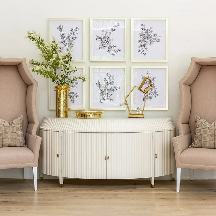 Global Views Floral Sketch Collection Framed Art 1.0