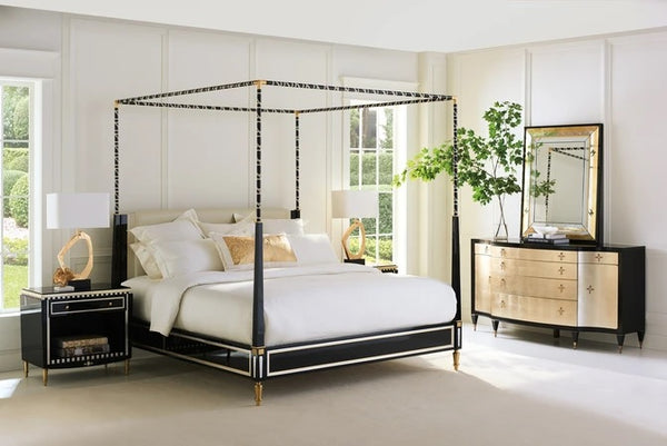Caracole Signature Promethean The Couturier Canopy King Bed