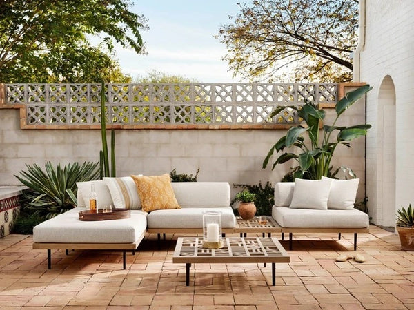 Four Hands Yves Outdoor Ottoman-Brown and Faye Sand