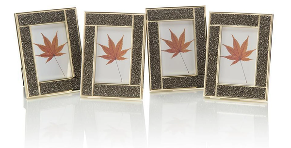 John Richard Set of Four Pyrite and Brass Photo Frames