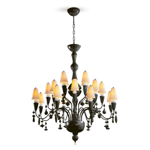 Lladro Ivy and Seed 20 Lights Chandelier Medium Model - Absolute Black (US)