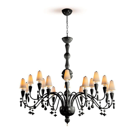 Lladro Ivy and Seed 16 Lights Chandelier Large Flat Model - Absolute Black (US)
