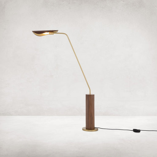 Four Hands Astrid Floor Lamp-Dark Brown Leather