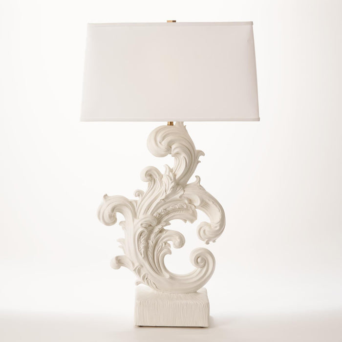Global Views Dorothy Acanthus Lamp-French White Plaster