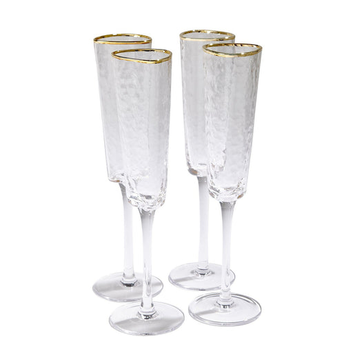Global Views S/4 Hammered Champagne Glasses-Clear W/Gold Rim