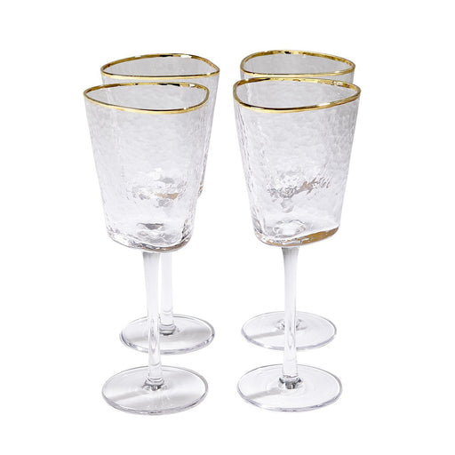 Global Views S/4 Hammered Footed Wine Glasses-Clear W/Gold Rim