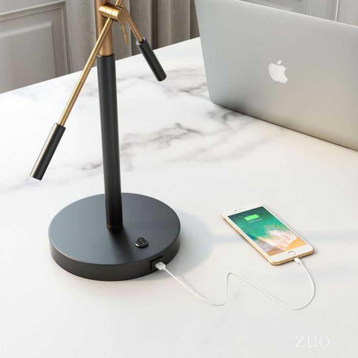 Zuo Tanner Table Lamp Matte Black & Brass