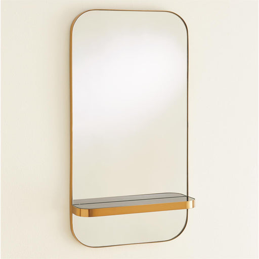 Global Views Train Car Mirror Gold With Marble Shelf