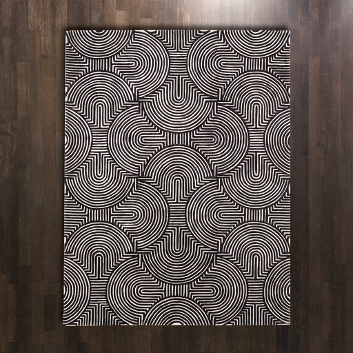 Global Views Arches Rug-Black/Ivory