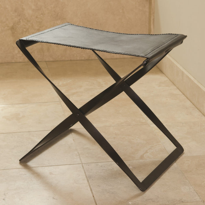 Global Views Folding Stool-Brown Leather