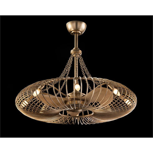 John Richard Ribbons of Silver Eight-Light Pendant with Fan