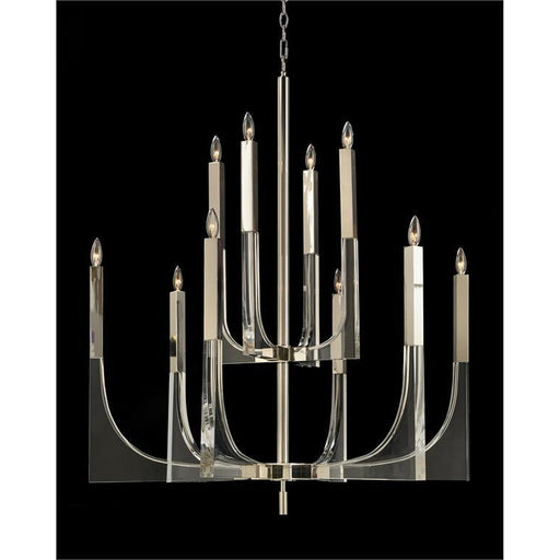 John Richard Acrylic and Nickel Ten-Light Chandelier