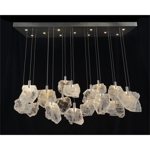 John Richard Moonlight Sonata: Selenite Pane Twenty-Nine-Light Horizontal Chandelier