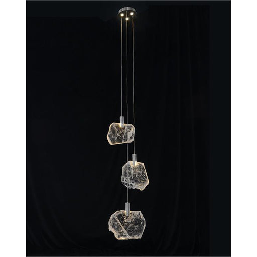 John Richard Moonlight Sonata: Selenite Pane Six-Light Droplight Chandelier