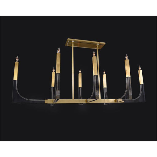 John Richard Genesis: Acrylic Eight-Light Chandelier with Antique Brass