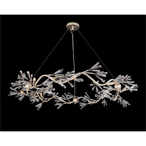 John Richard Luna: Crystal Wand Branched Nine-Light Chandelier