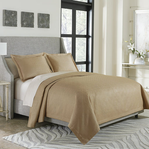 Michael Amini Alton 3pc Bed Throw/Coverlet Set Gold