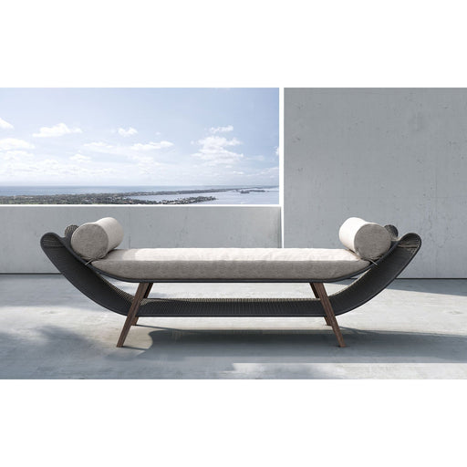 Modloft Reverie Bench in Feather Gray Fabric