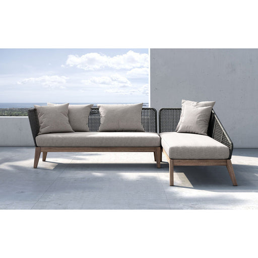 Modloft Netta Right Sectional Sofa in Feather Gray Fabric