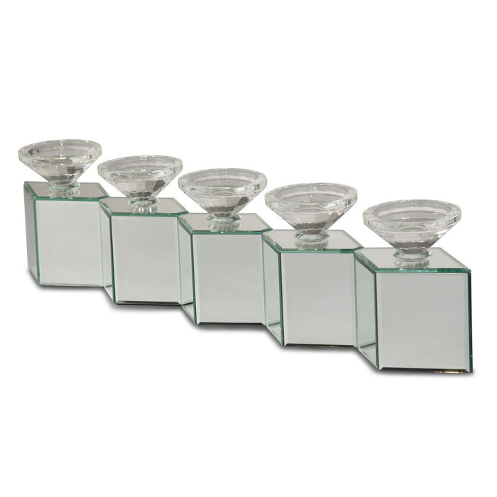 Michael Amini Montreal Mirrored Cube Linear Candle Holder 162