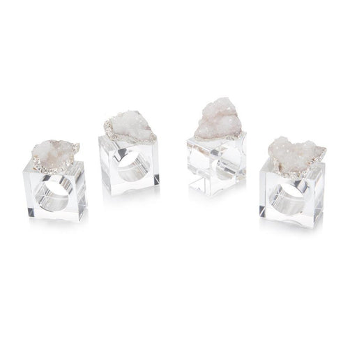 John Richard Set of Four White and Silver Geode Napkin Rings