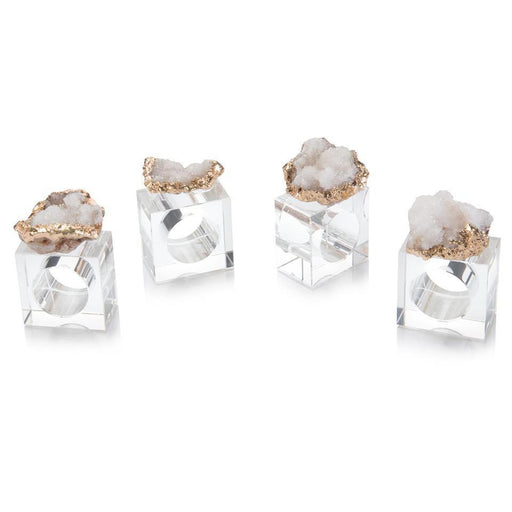 John Richard Set of Four White and Gold Geode Napkin Rings