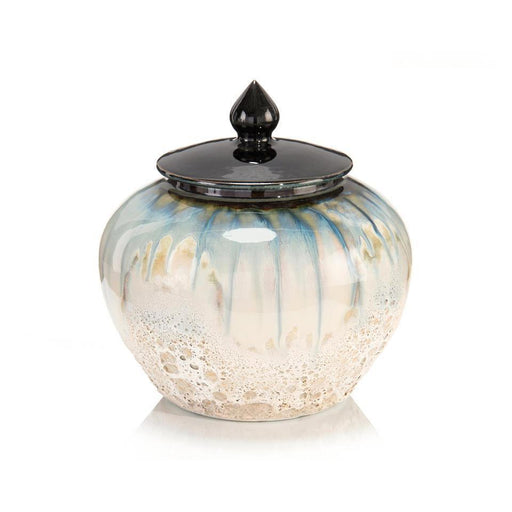 John Richard White and Smalt Blue Lidded Jar II