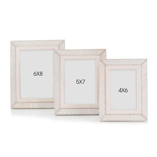 John Richard Set of Three Cream Leather Photo Frames