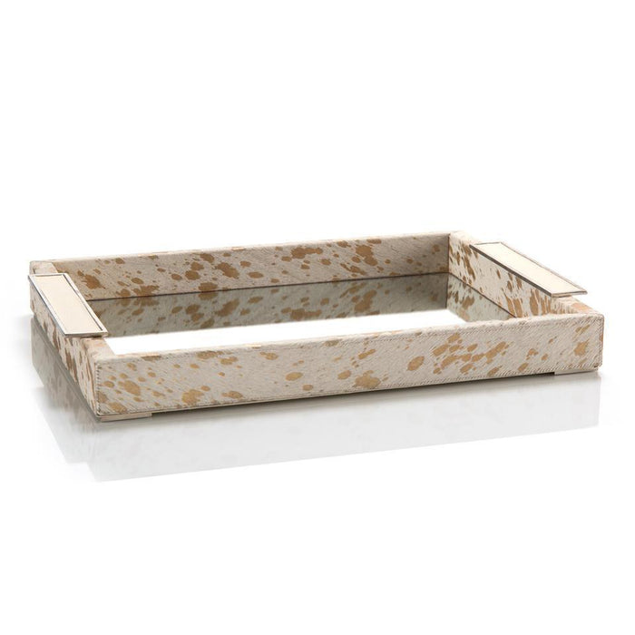 John Richard Cream and Gold Hide Mirrored Tray