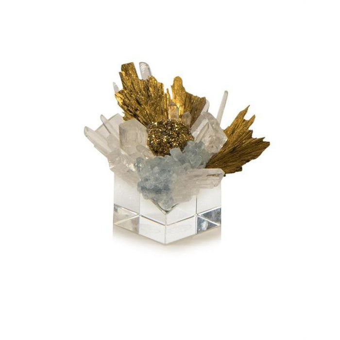 John Richard Stone Cluster in Clear, Yellow Quartz, and Gold