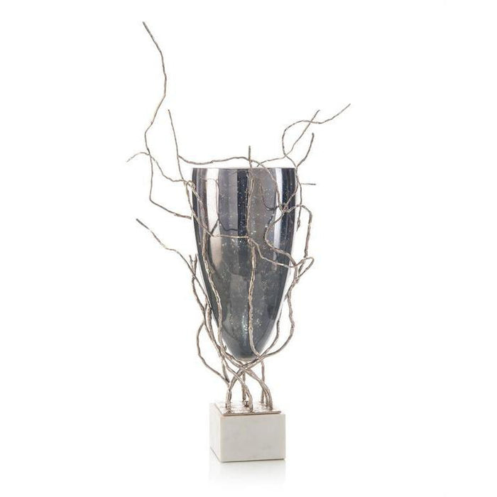 John Richard Profusion of Saplings in Nickel with Glass Vase