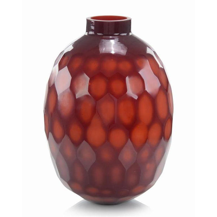 John Richard Ruby Red Etched Glass Vase II