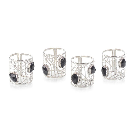 John Richard Set of Four Black Onyx and Nickel Napkin Rings