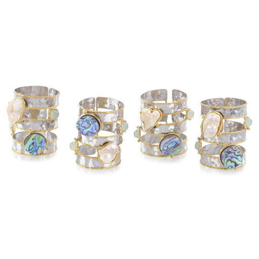 John Richard Set of Four Abalone and Pearl Napkin Rings