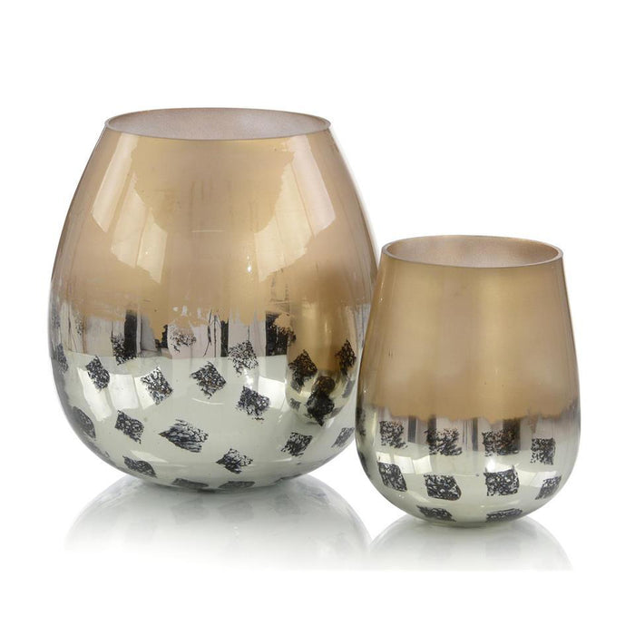 John Richard Set of Two Gold and Black Deco Dots Glass Vases
