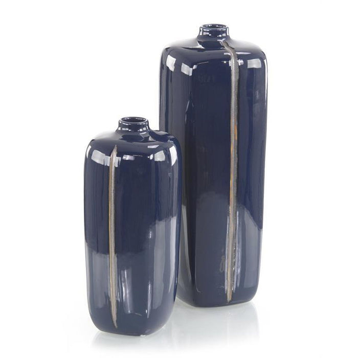 John Richard Set of Two Sapphire Blue with Grey Porcelain Vases