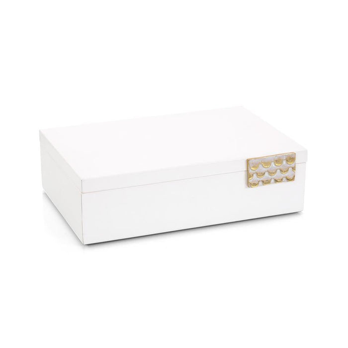 John Richard Porcelain White Leather Box