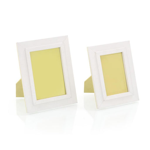 John Richard Set of Two Warm White Leather Photo Frames