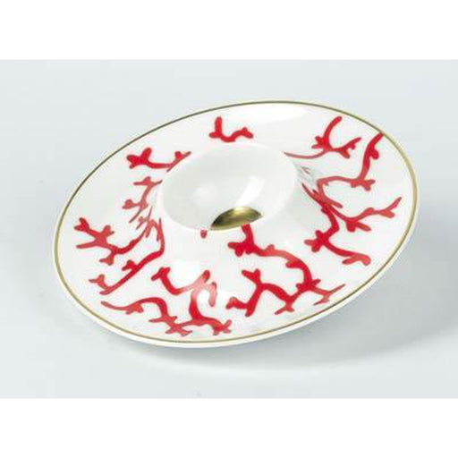 Raynaud Cristobal Rouge / Coral Egg Cup On Tray