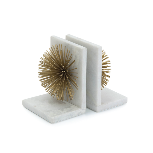John Richard Gold Bursts on White Marble Bookends