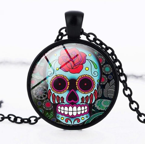 suteyi classic mexican sugar skull pendant day of the dead necklace silver color chain skull glass