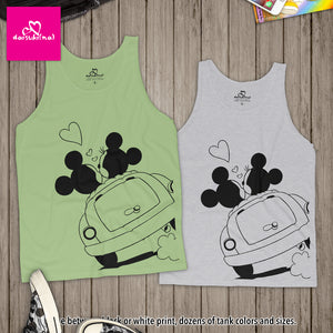 Mickey & Minnie Mouse Lovers in Car - Unisex Tank Top