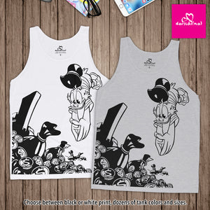 Scrooge McDuck Diving Into Gold - Unisex Tank Top