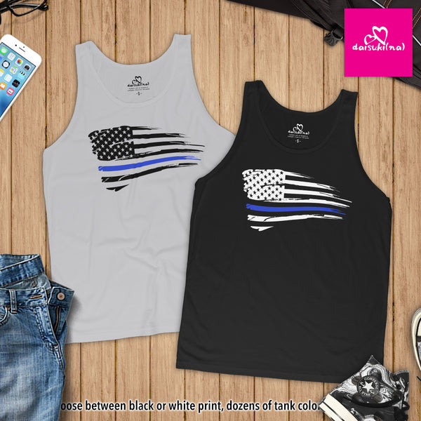 Thin Blue Line Battle Worn Tattered American Flag - Unisex Tank Top