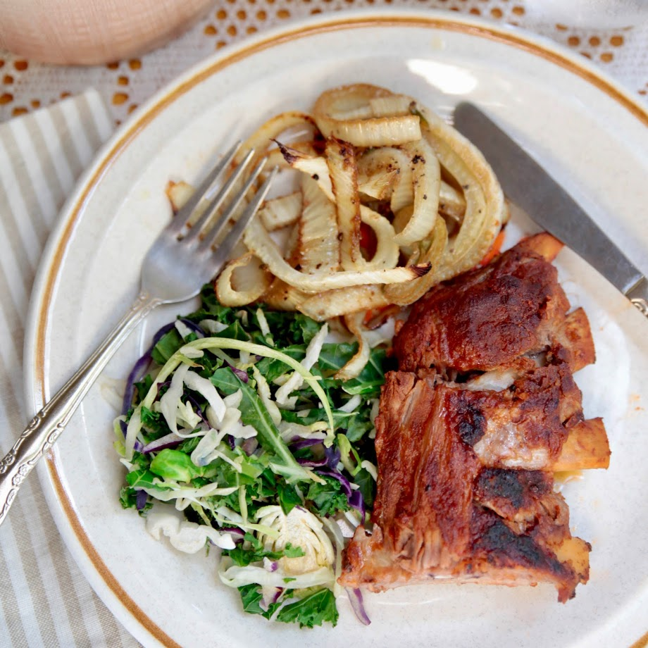 Slow-Cooked BBQ Pork Ribs with Roasted Fennel & Mixed Cabbage