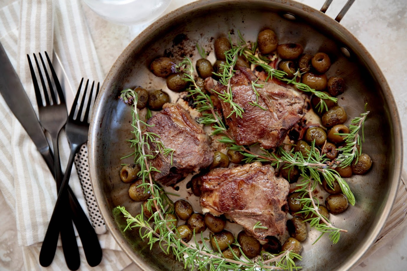 Lamb with Grilled Olives