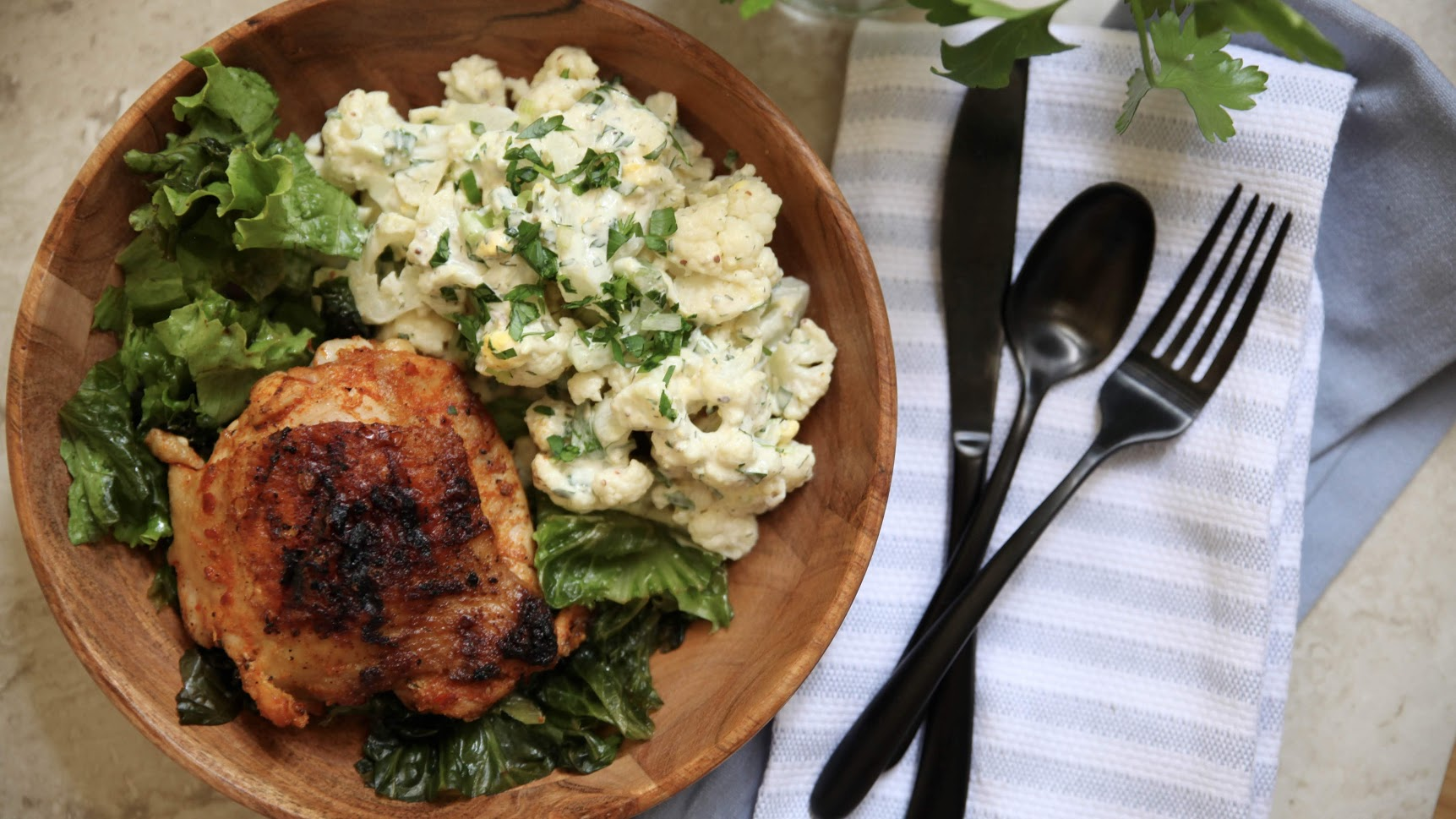 BBQ Chicken Thighs with It's-Cauliflower-Not-Potato Salad